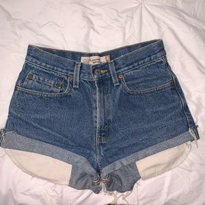 Levi's High Waisted Distressed Shorts